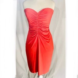 💗Boston Proper strapless back zip rouched d…